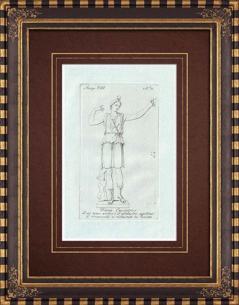 Stampe Antiche & Disegni | Diana cacciatrice - Mitologia romana - Galleria Borghese - Roma | Incisione su rame | 1796
