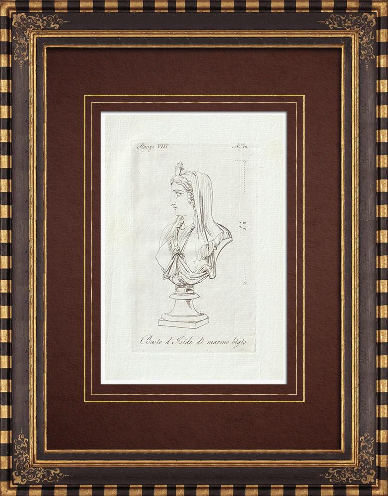Stampe Antiche & Disegni | Busto d'Iside in marmo - Antico Egitto - Galleria Borghese - Roma | Incisione su rame | 1796