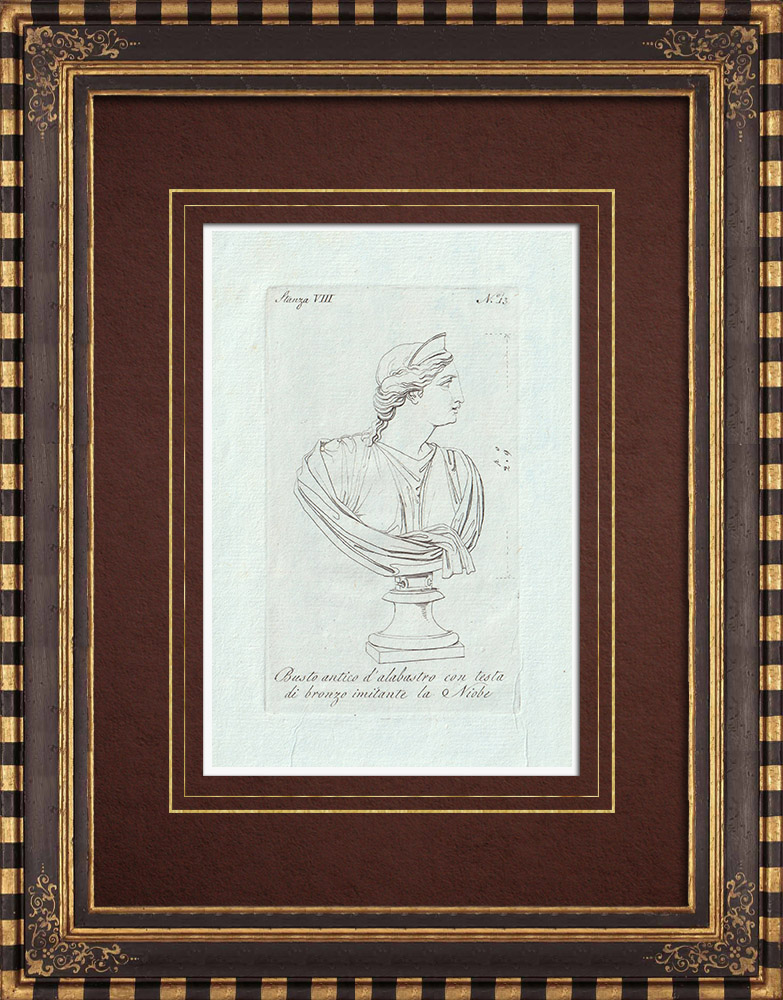 Antique Prints & Drawings   Niobe - Alabaster bust and bronze head - Galleria Borghese - Rome   Copper engraving   1796