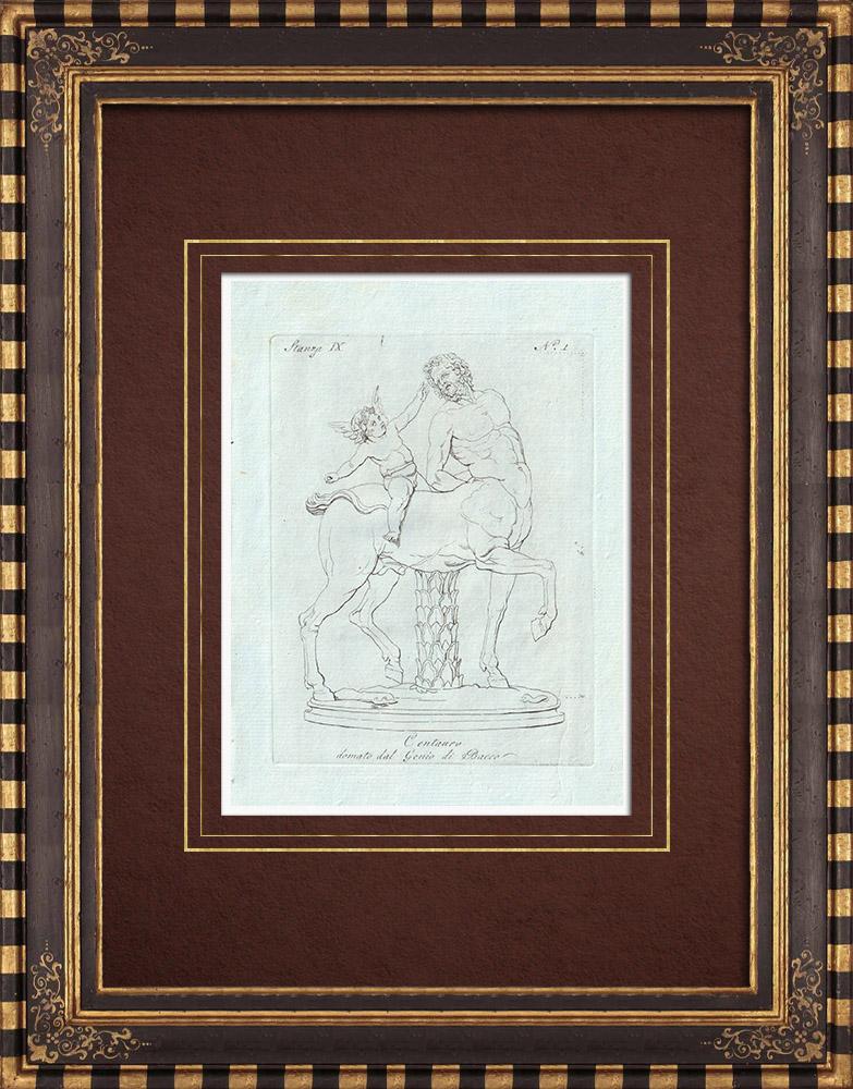 Stampe Antiche & Disegni | Centauro - Genio alato di Bacco - Galleria Borghese - Roma | Incisione su rame | 1796