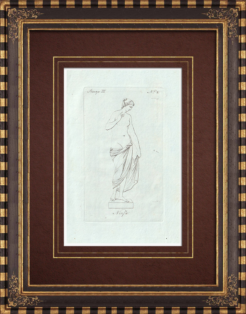 Antique Prints & Drawings   Nymph - Greek mythology - Galleria Borghese - Rome   Copper engraving   1796