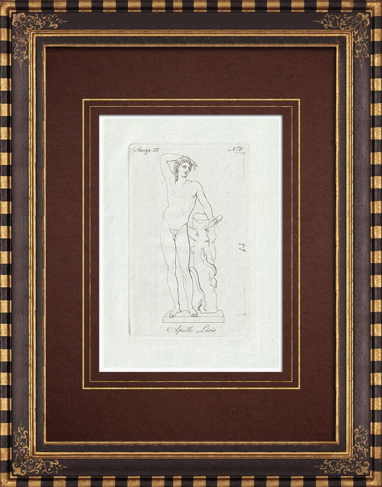 Grabados & Dibujos Antiguos | Apolo Licio - Praxíteles - Galería Borghese - Roma | Grabado calcográfico | 1796