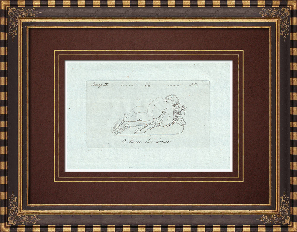 Antique Prints & Drawings | Sleeping Cupid - Galleria Borghese - Rome | Copper engraving | 1796