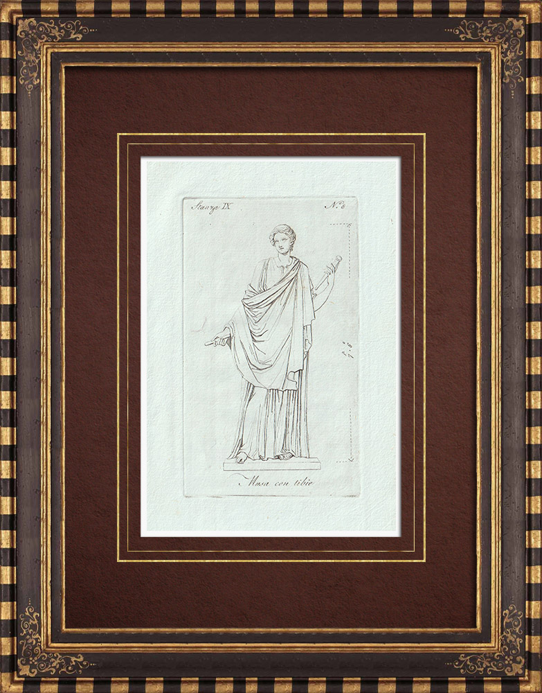 Grabados & Dibujos Antiguos | Musa o Sonatrice di Tibie - Galería Borghese - Roma | Grabado calcográfico | 1796