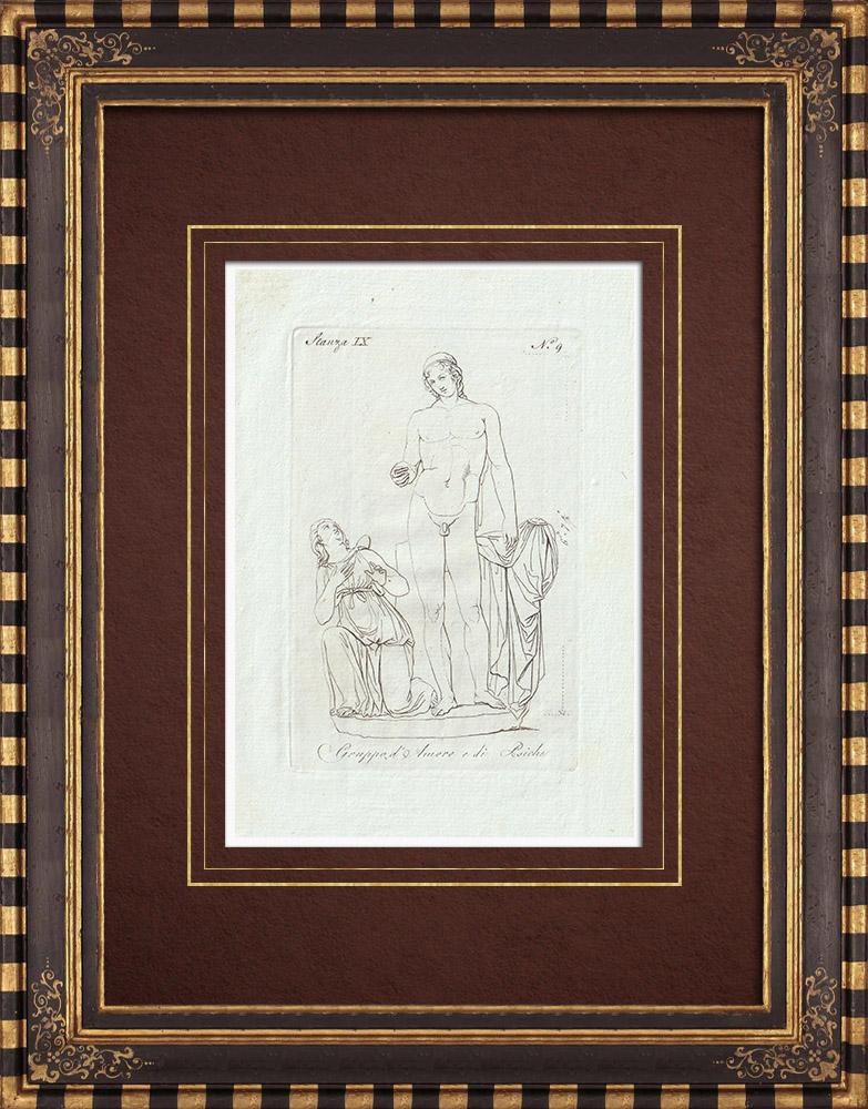 Stampe Antiche & Disegni | Amore e Psiche - Galleria Borghese - Roma | Incisione su rame | 1796
