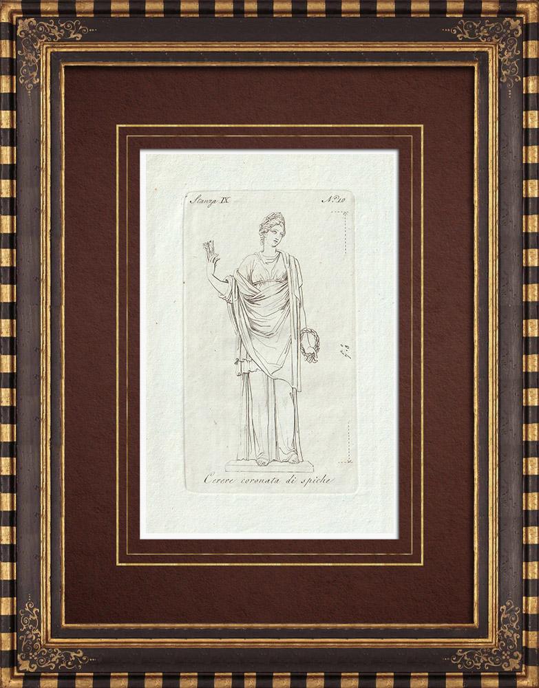Gravures Anciennes & Dessins | Cérès couronnée d'épis de blé - Galerie Borghèse - Rome | Gravure sur cuivre | 1796