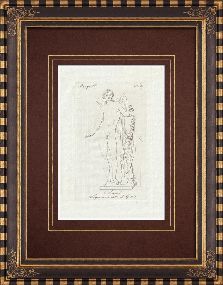 Gravures Anciennes & Dessins | Amore detto il Genio - Cupidon - Galerie Borghèse - Rome | Gravure sur cuivre | 1796