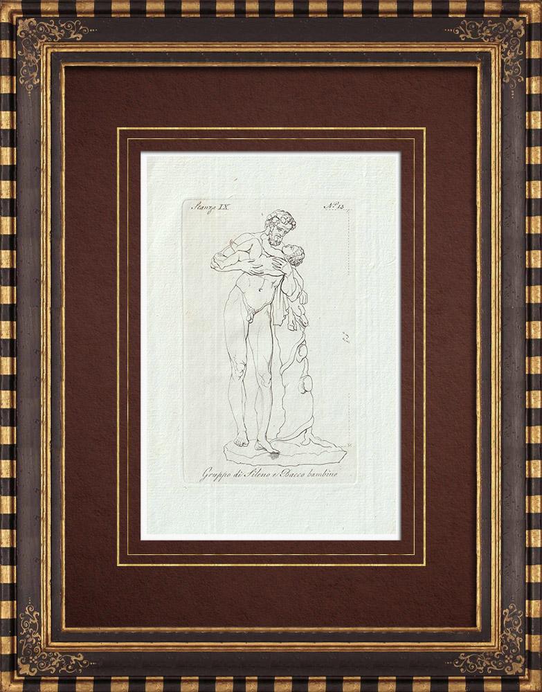 Stampe Antiche & Disegni | Sileno e il Bacco bambino - Galleria Borghese - Roma | Incisione su rame | 1796