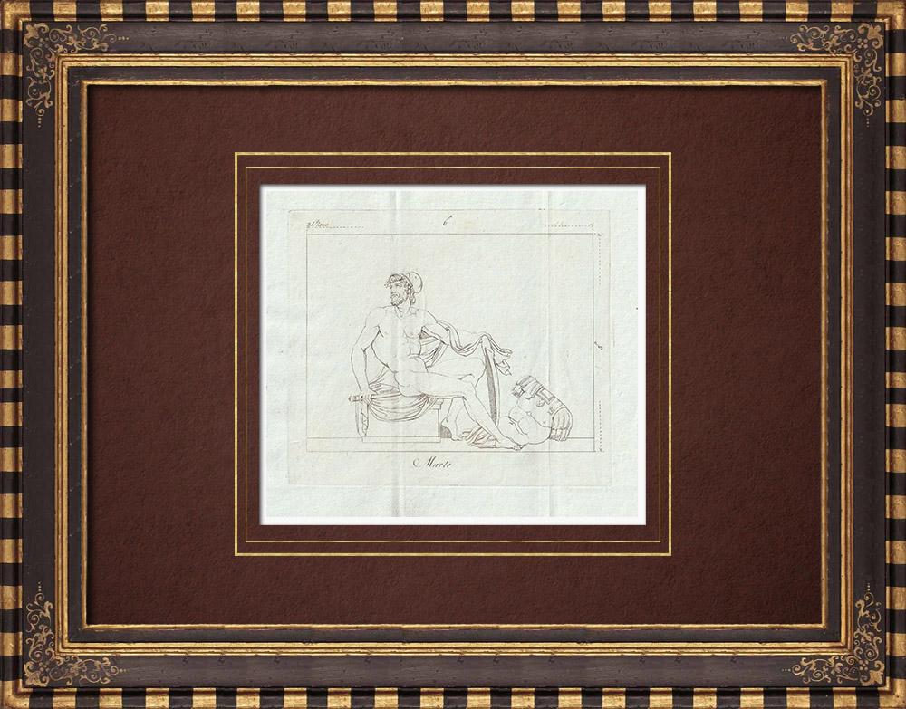 Stampe Antiche & Disegni | Marte, dio della guerra - Nudo Maschio - Galleria Borghese - Roma | Incisione su rame | 1796