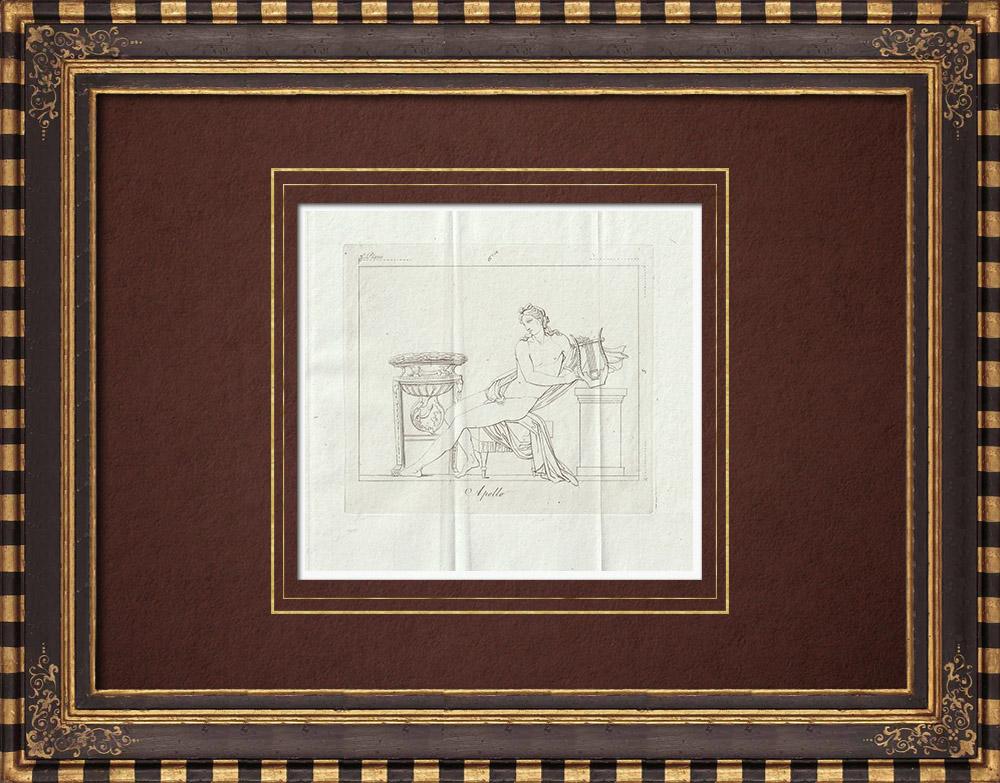 Grabados & Dibujos Antiguos | Apolo y su Lira - Galería Borghese - Roma | Grabado calcográfico | 1796