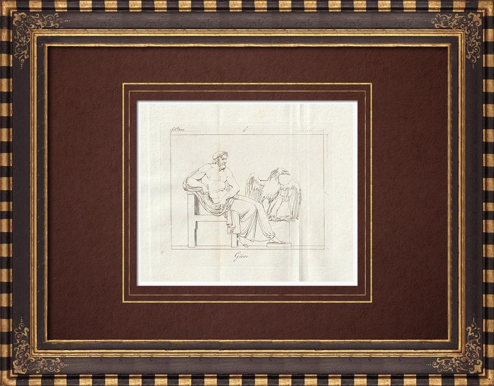 Stampe Antiche & Disegni | Giove e la sua aquila - Galleria Borghese - Roma | Incisione su rame | 1796