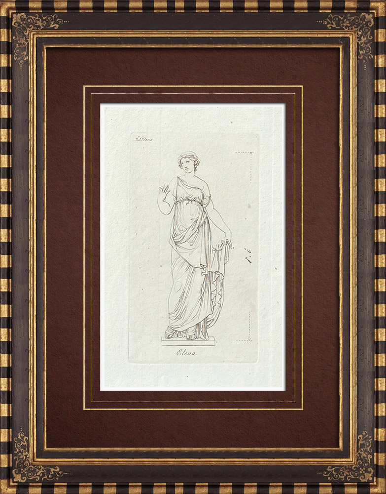 Antique Prints & Drawings | Helen of Troy - Galleria Borghese - Rome | Copper engraving | 1796