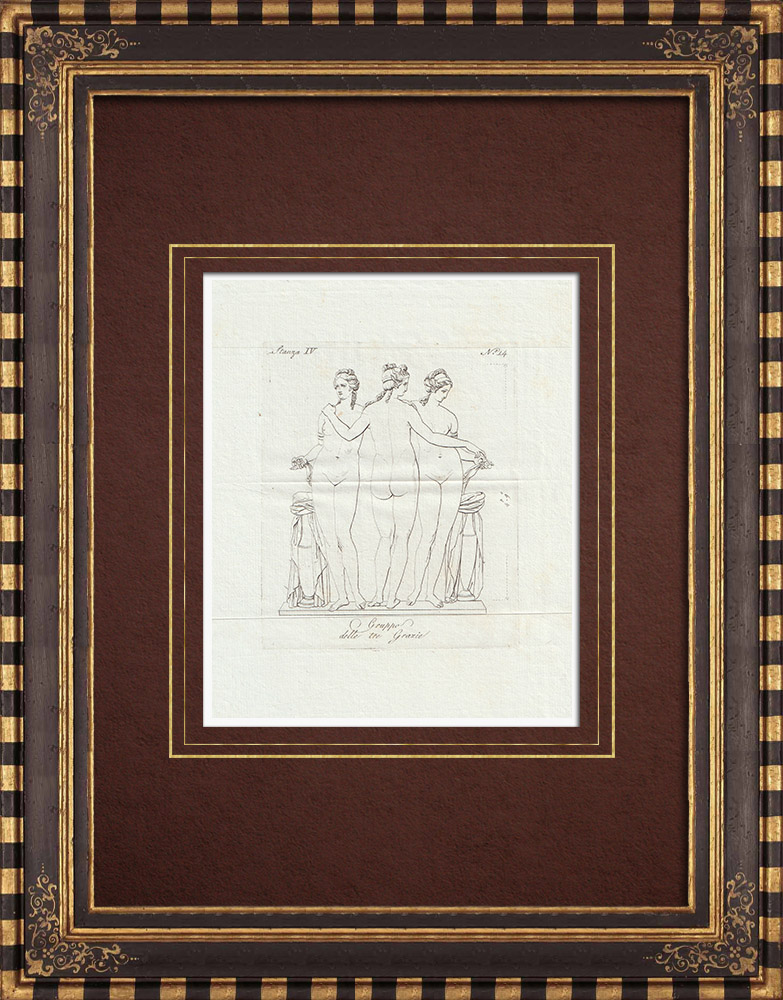 Antique Prints & Drawings | The Three Graces' bath - Galleria Borghese - Rome | Copper engraving | 1796