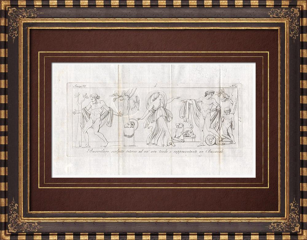 Stampe Antiche & Disegni | Bacco - Baccanale - Baccanti - Bassorilievo - Galleria Borghese - Roma  | Incisione su rame | 1796