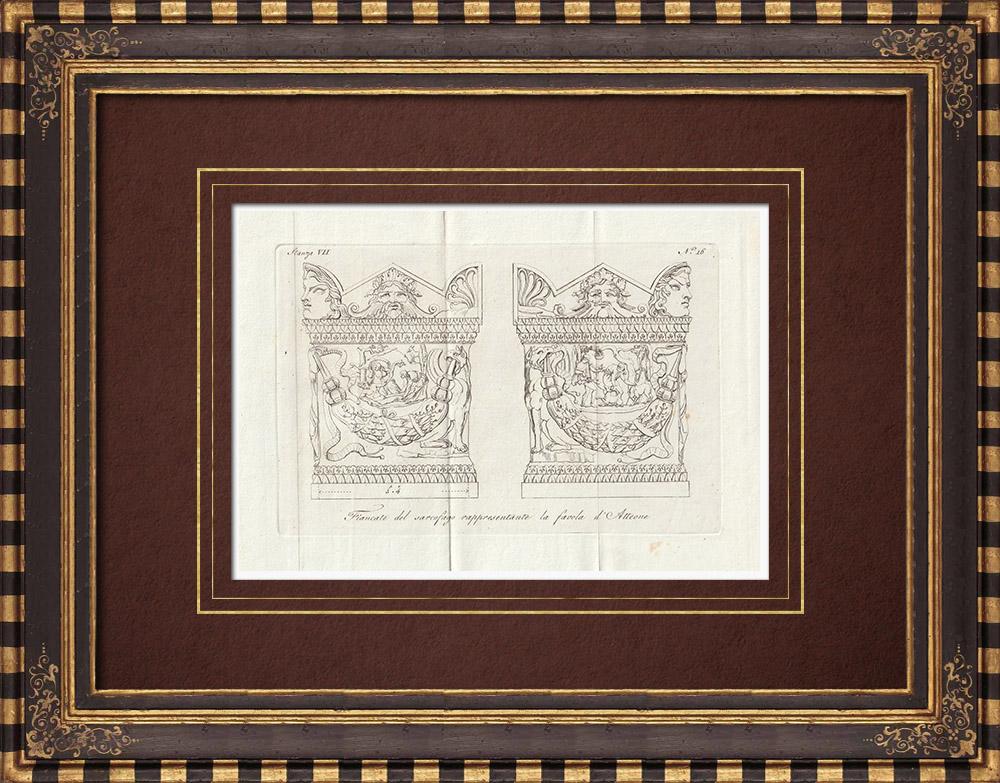 Stampe Antiche & Disegni | Sarcofago - Favola d'Atteone - Galleria Borghese - Roma | Incisione su rame | 1796