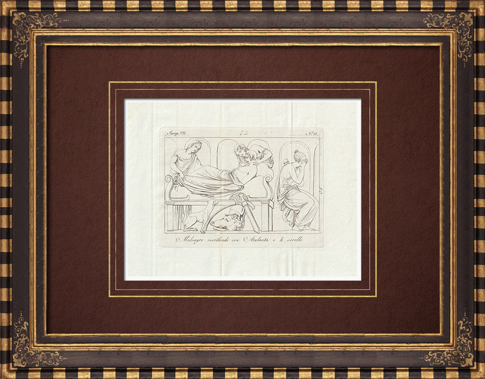 Antique Prints & Drawings   Meleager - Atalanta - Sisters - Galleria Borghese - Rome   Copper engraving   1796