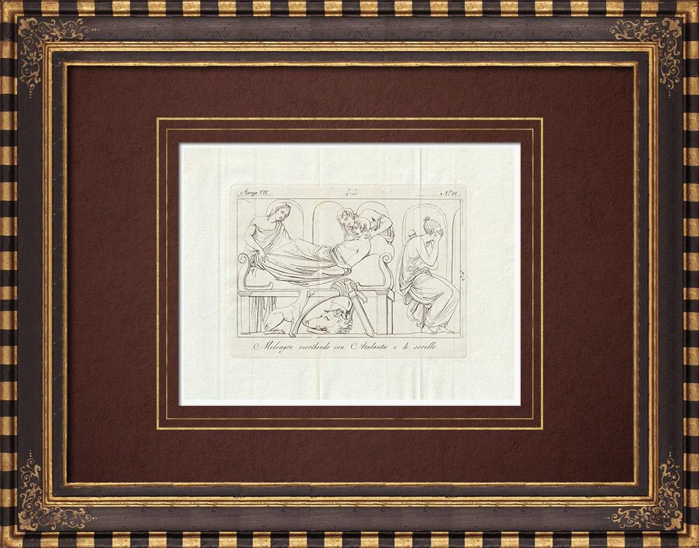 Stampe Antiche & Disegni | Meleagro - Atalanta - Sorelle - Galleria Borghese - Roma | Incisione su rame | 1796