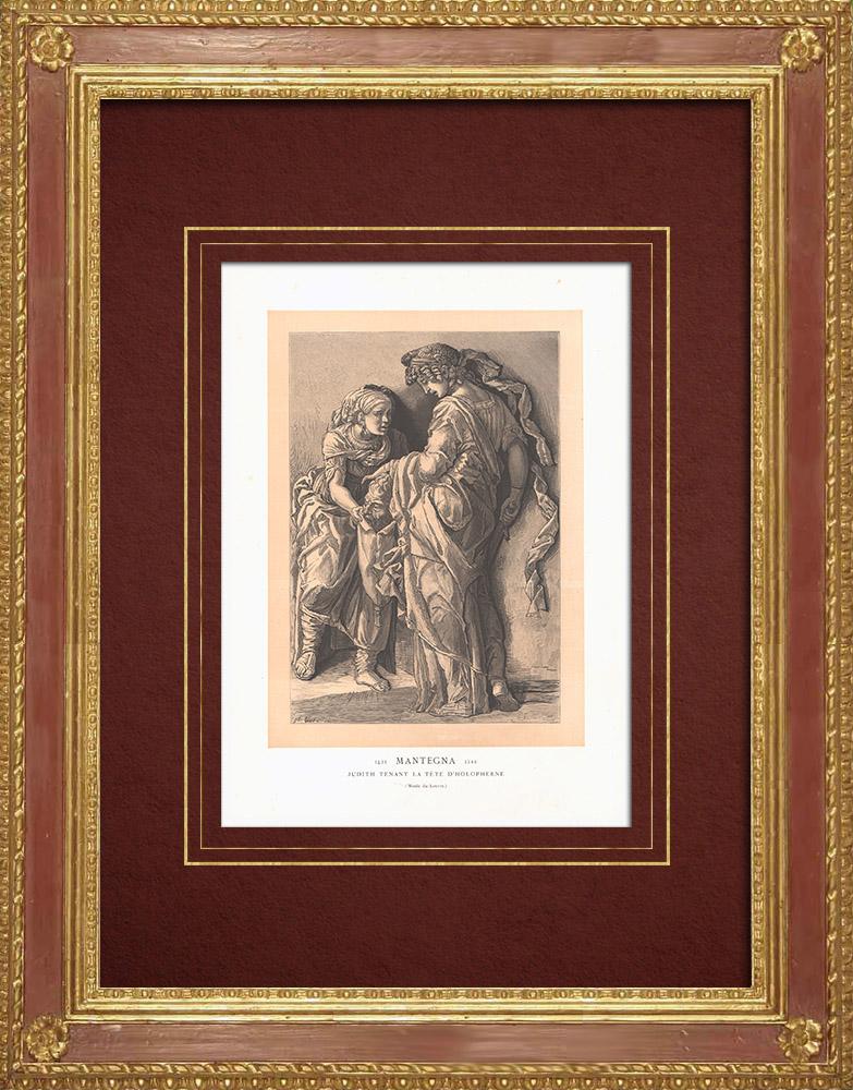 Stampe Antiche & Disegni   Giuditta con la testa di Olofern - Quattrocento (Andrea Mantegna)   Incisione xilografica   1870