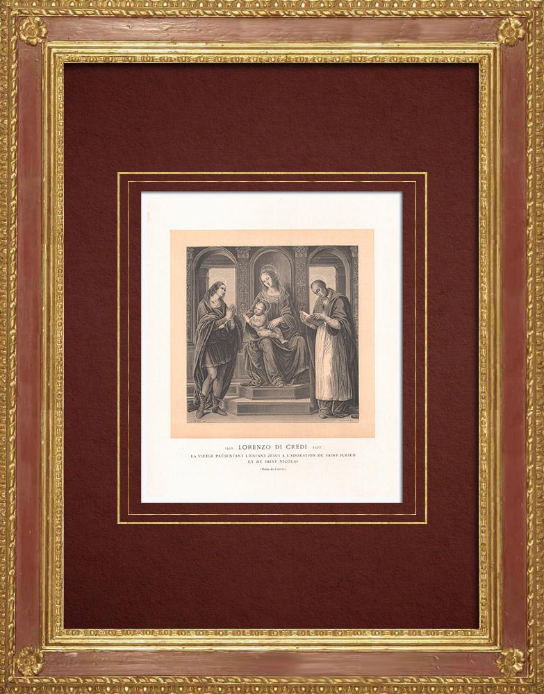 Antique Prints & Drawings | Madonna and Child between St Julien and Saint Nicholas of Myra - Renaissance (Lorenzo di Credi) | Wood engraving | 1870