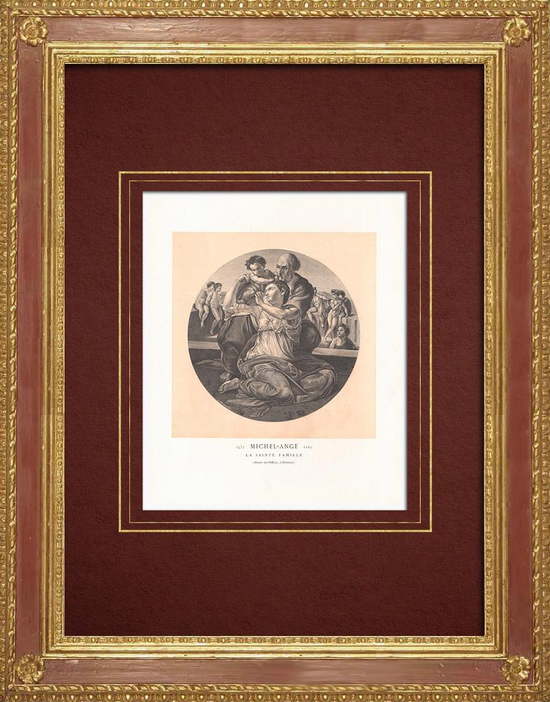 Stampe Antiche & Disegni   Tondo Doni - Sacra Famiglia (Michelangelo)   Incisione xilografica   1870