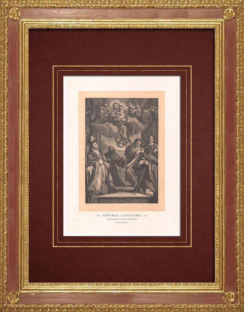 Stampe Antiche & Disegni | Vergine Maria - Vierge de San Lodovico (Annibale Carracci) | Incisione xilografica | 1870