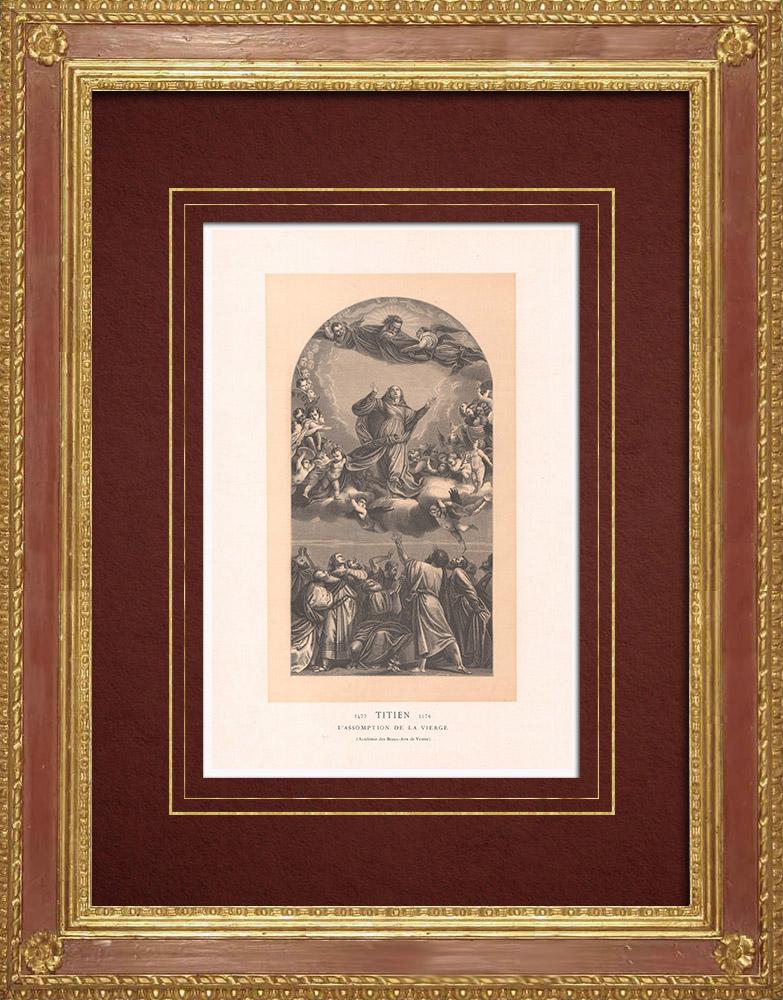 Gravures Anciennes & Dessins | Assomption de la Vierge - Anges (Le Titien - Tiziano Vecellio) | Gravure sur bois | 1870