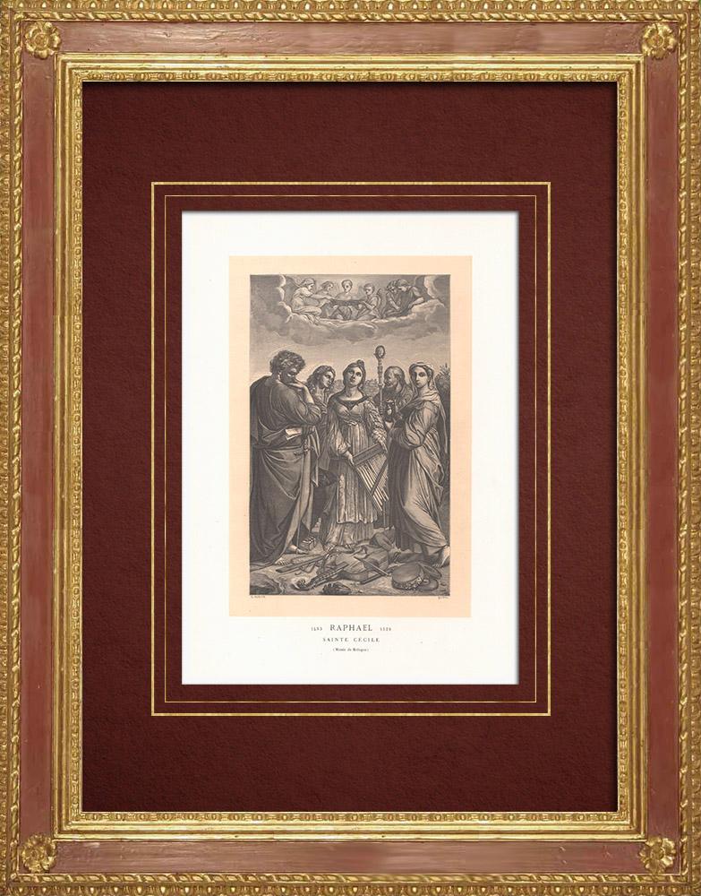 Stampe Antiche & Disegni | Santa Cecilia - Pittura italiana (Raffaello Sanzio) | Incisione xilografica | 1870