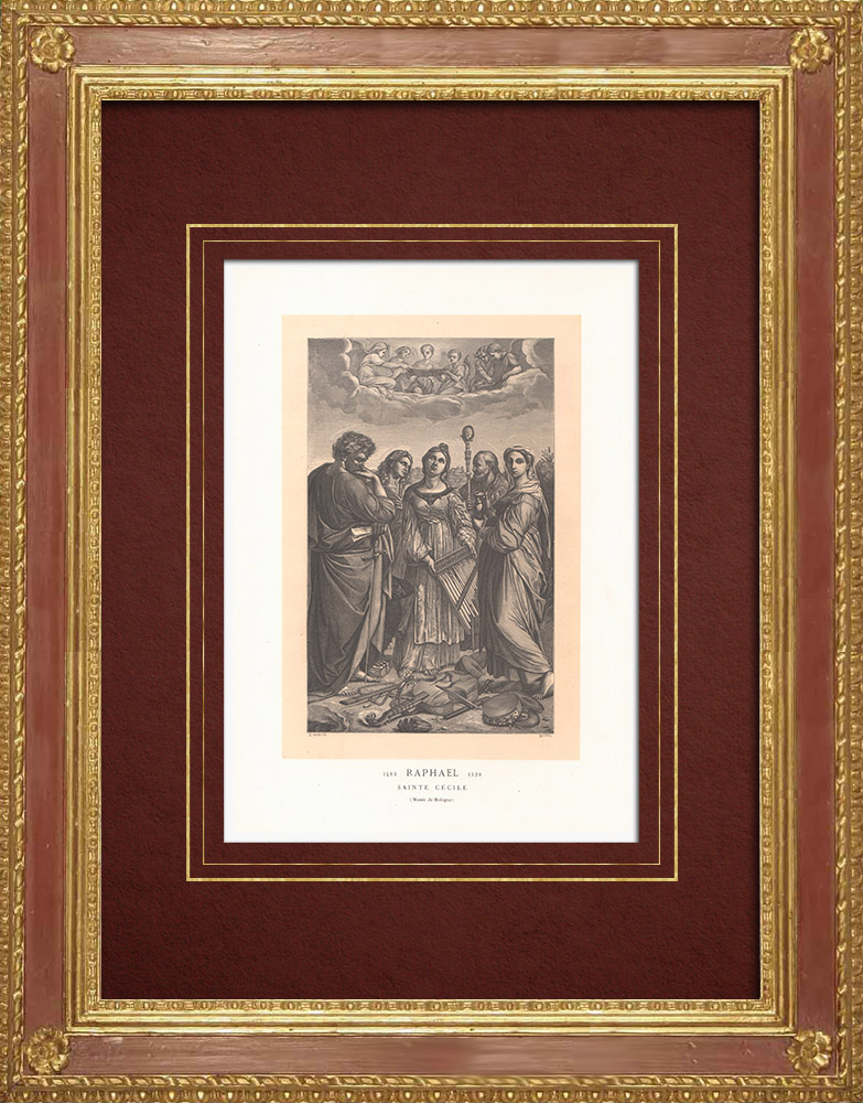 Antique Prints & Drawings   St. Cecilia - Italian painting (Raffaello Sanzio called Raphael)   Wood engraving   1870