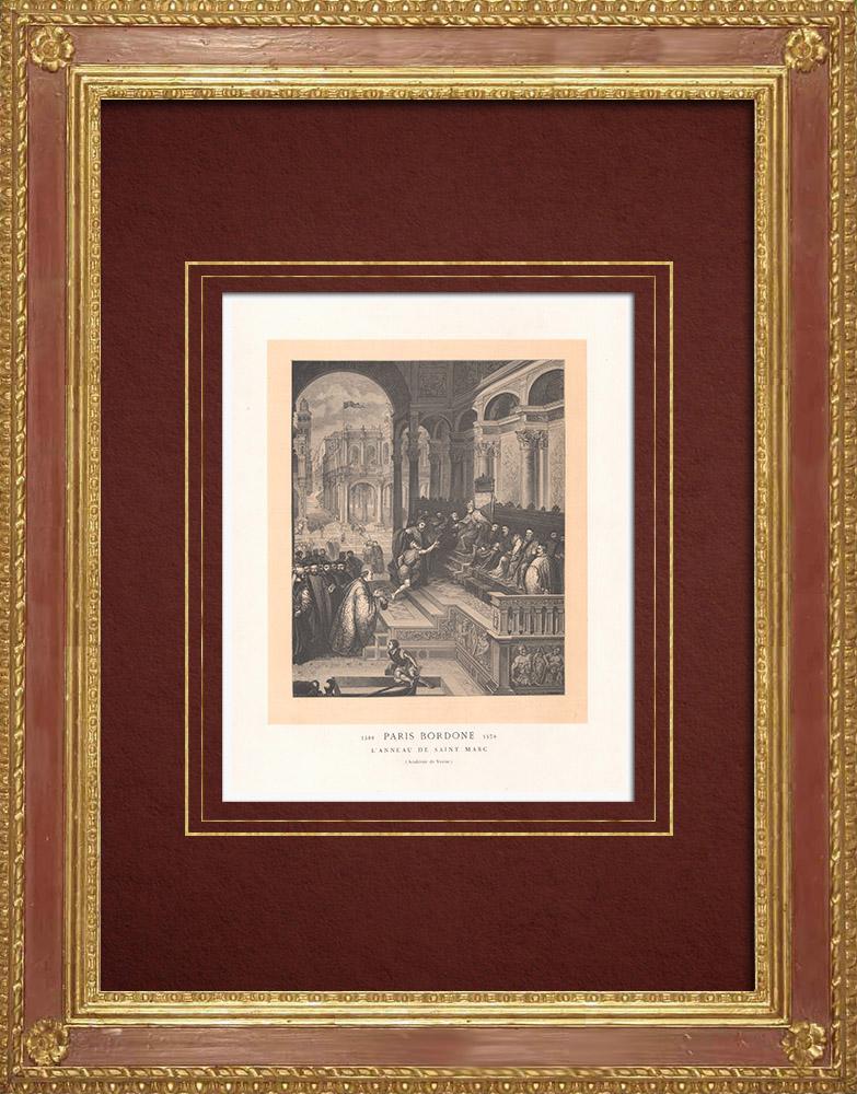Gravures Anciennes & Dessins | Remise de l'Anneau de Saint Marc au Doge (Paris Bordone) | Gravure sur bois | 1870