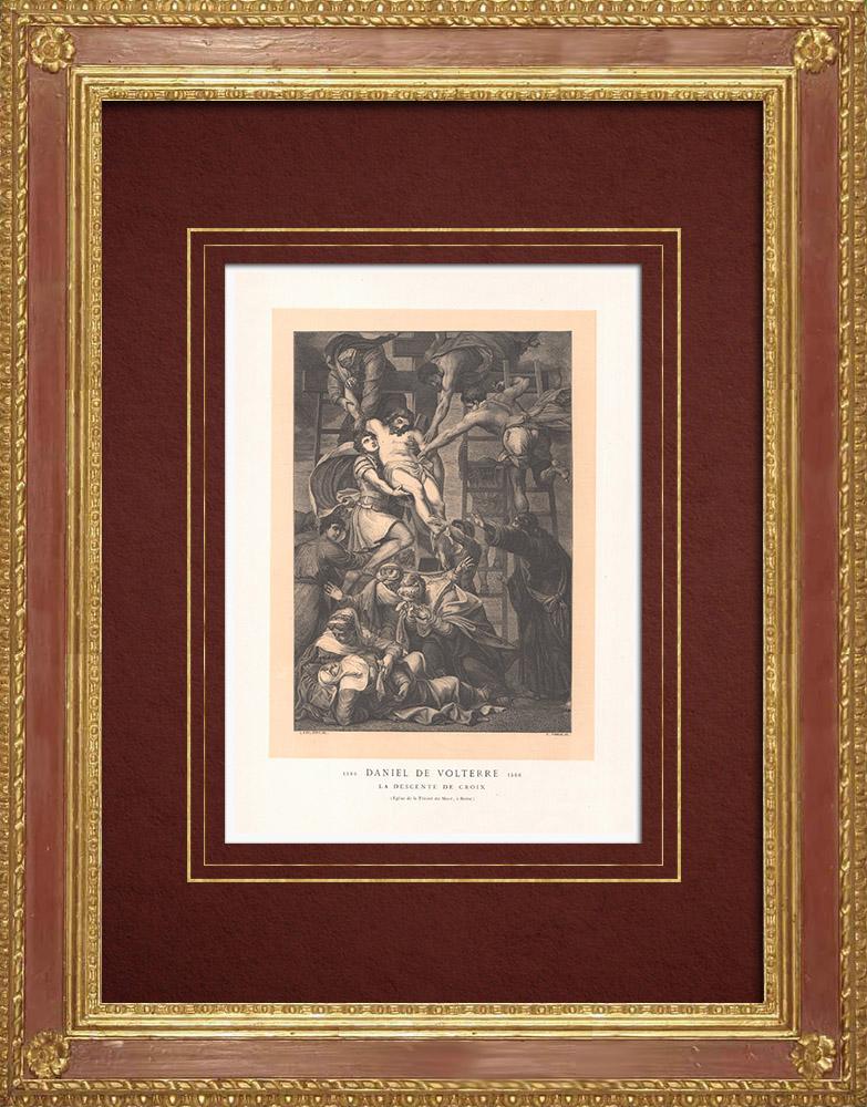 Stampe Antiche & Disegni | Gesù Cristo - La Deposizione - Discesa dalla Croce (Daniele da Volterra) | Incisione xilografica | 1870