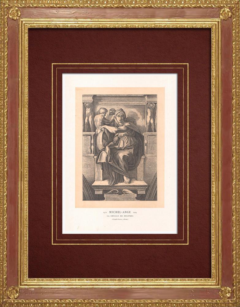 Stampe Antiche & Disegni | Affresco - Cappella Sistina - La Sibilla Delfica (Michelangelo) | Incisione xilografica | 1870