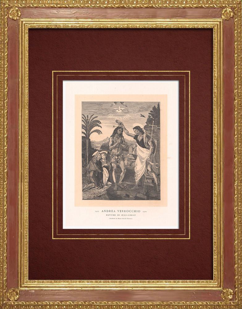 Stampe Antiche & Disegni | Il Battesimo di Gesù Cristo (Andrea del Verrocchio e Leonardo da Vinci) | Incisione xilografica | 1870