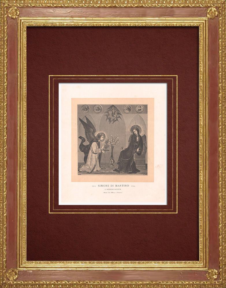 Stampe Antiche & Disegni | Annunciazione dell'Arcangelo Gabriele alla Vergine Maria (Simone Martini) | Incisione xilografica | 1870