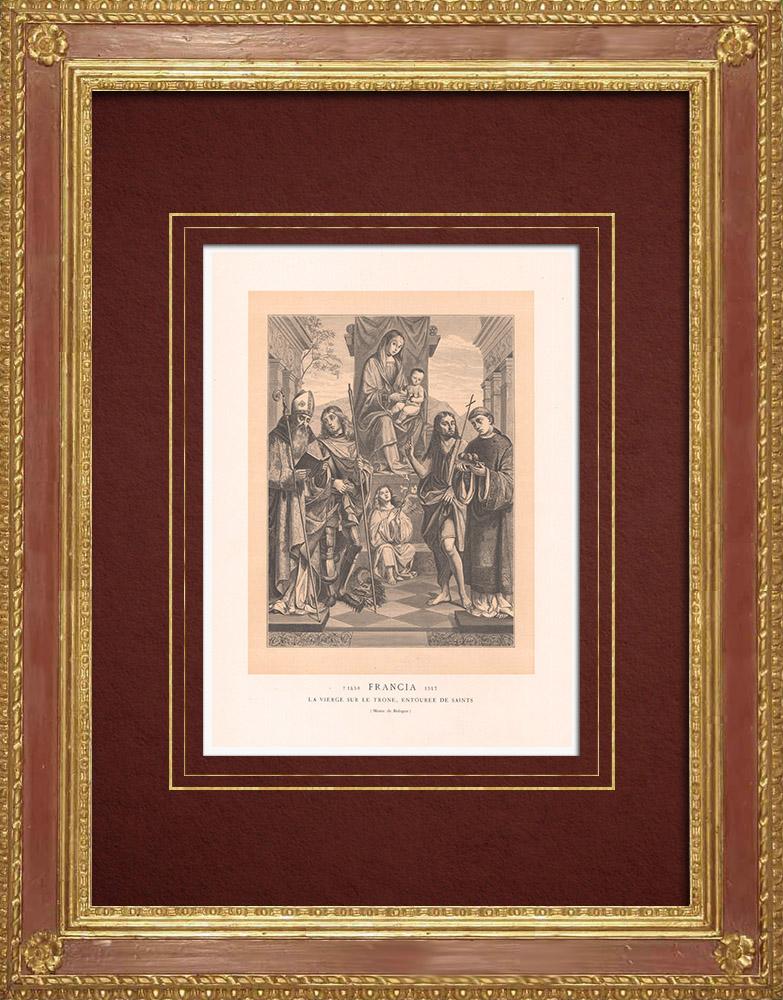 Stampe Antiche & Disegni | Agostino vescovo e santi con la Vergine in trono (Francesco Francia) | Incisione xilografica | 1870