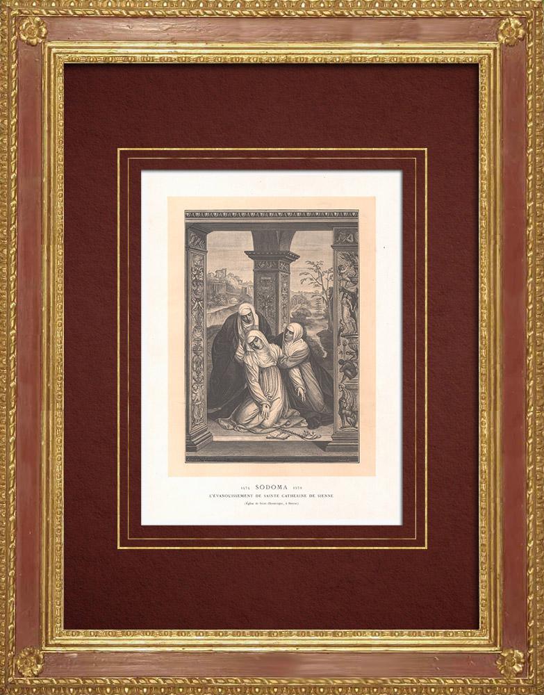 Gravures Anciennes & Dessins | Scène de la vie de sainte Catherine de Sienne (Le Sodoma) | Gravure sur bois | 1870