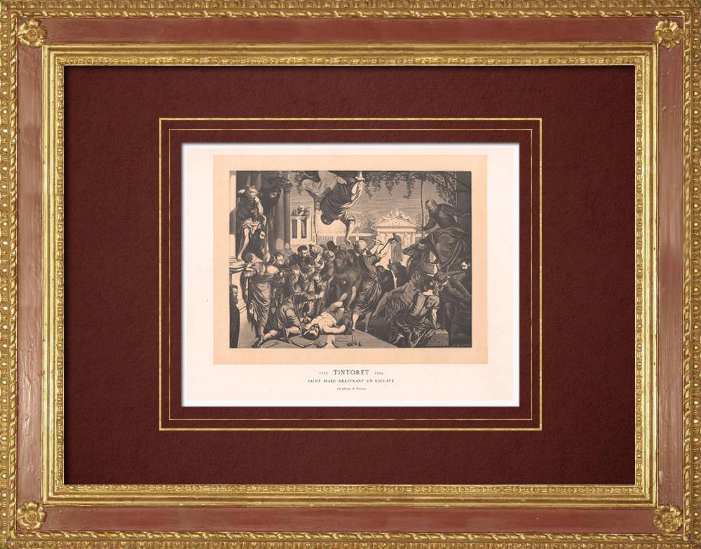 Stampe Antiche & Disegni   San Marco libera uno schiavo (Tintoretto)   Incisione xilografica   1870