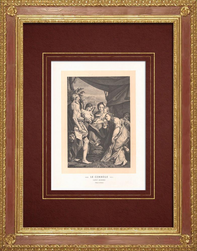 Stampe Antiche & Disegni | Madonna col Bambino - San Girolamo (Antonio da Correggio) | Incisione xilografica | 1870