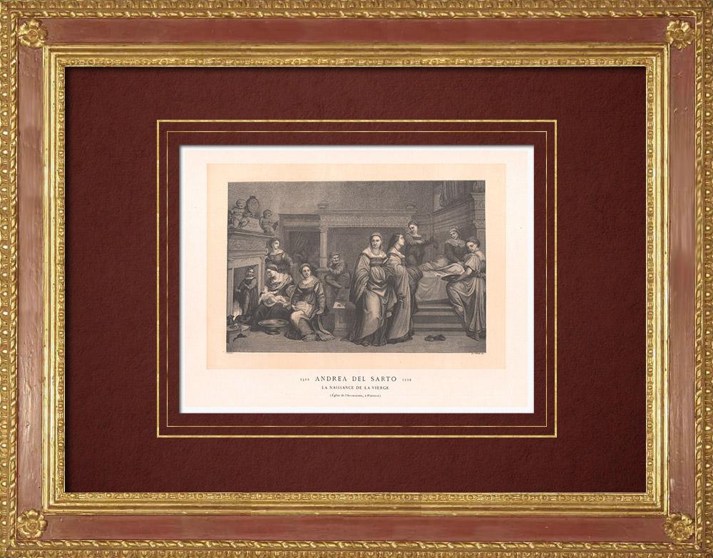 Gravures Anciennes & Dessins | Naissance de la Vierge (Andrea del Sarto)  | Gravure sur bois | 1870