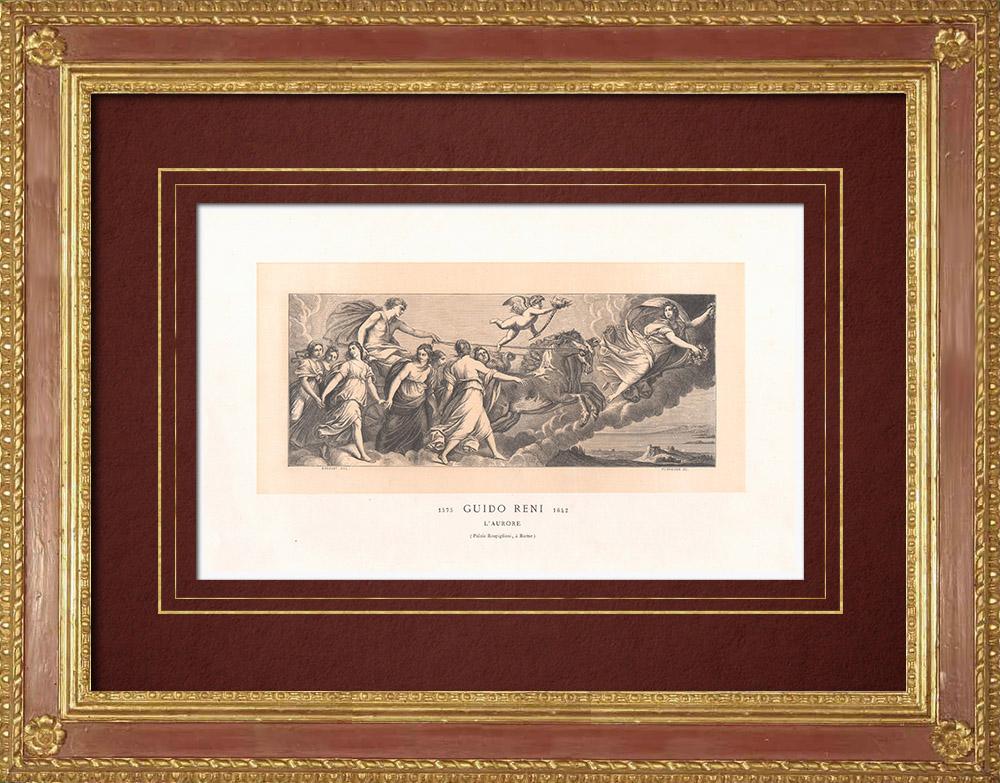 Stampe Antiche & Disegni | Aurora - Mitologia - Affresco (Guido Reni) | Incisione xilografica | 1870