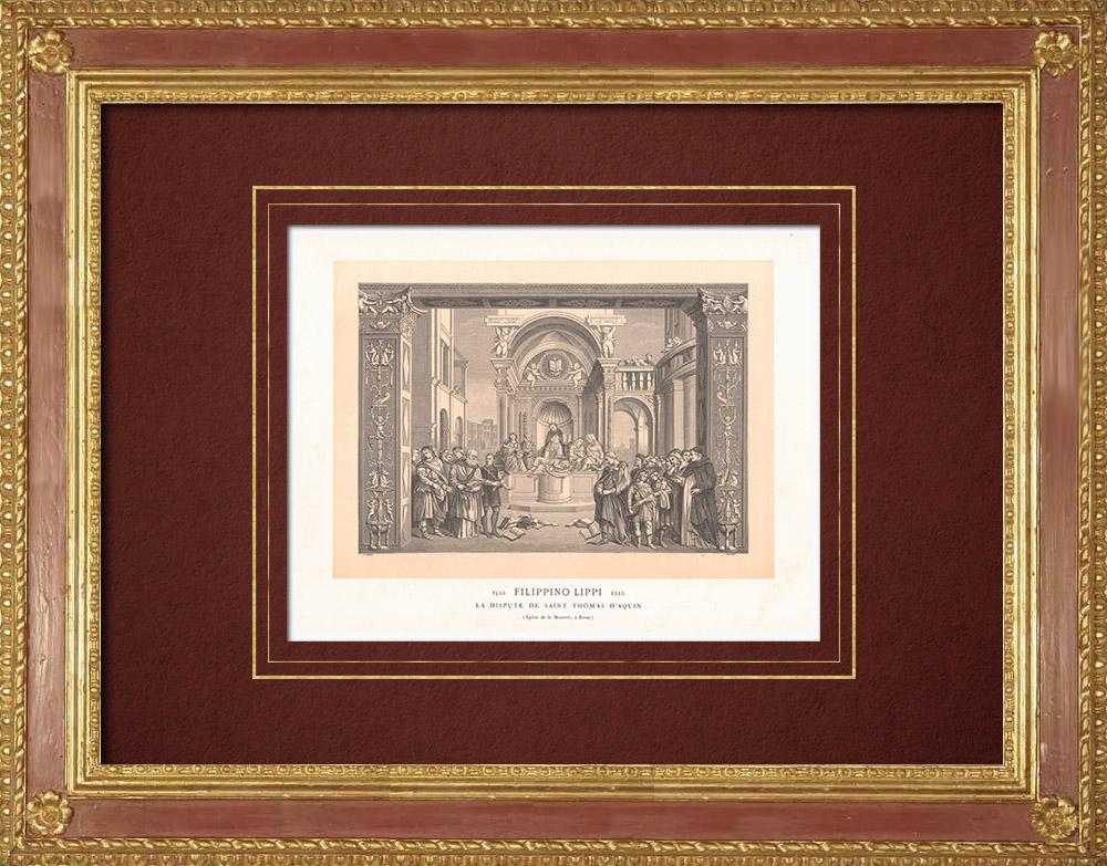 Stampe Antiche & Disegni | San Tommaso d'Aquino (Filippino Lippi) | Incisione xilografica | 1870