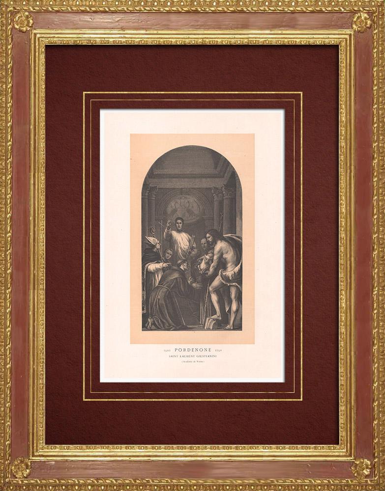 Stampe Antiche & Disegni | San Lorenzo Giustiniani e altri santi (Il Pordenone)  | Incisione xilografica | 1870