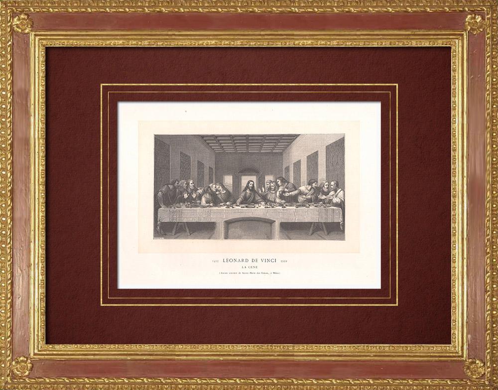Stampe Antiche & Disegni   L'Ultima Cena - Affresco (Leonardo da Vinci)   Incisione xilografica   1870