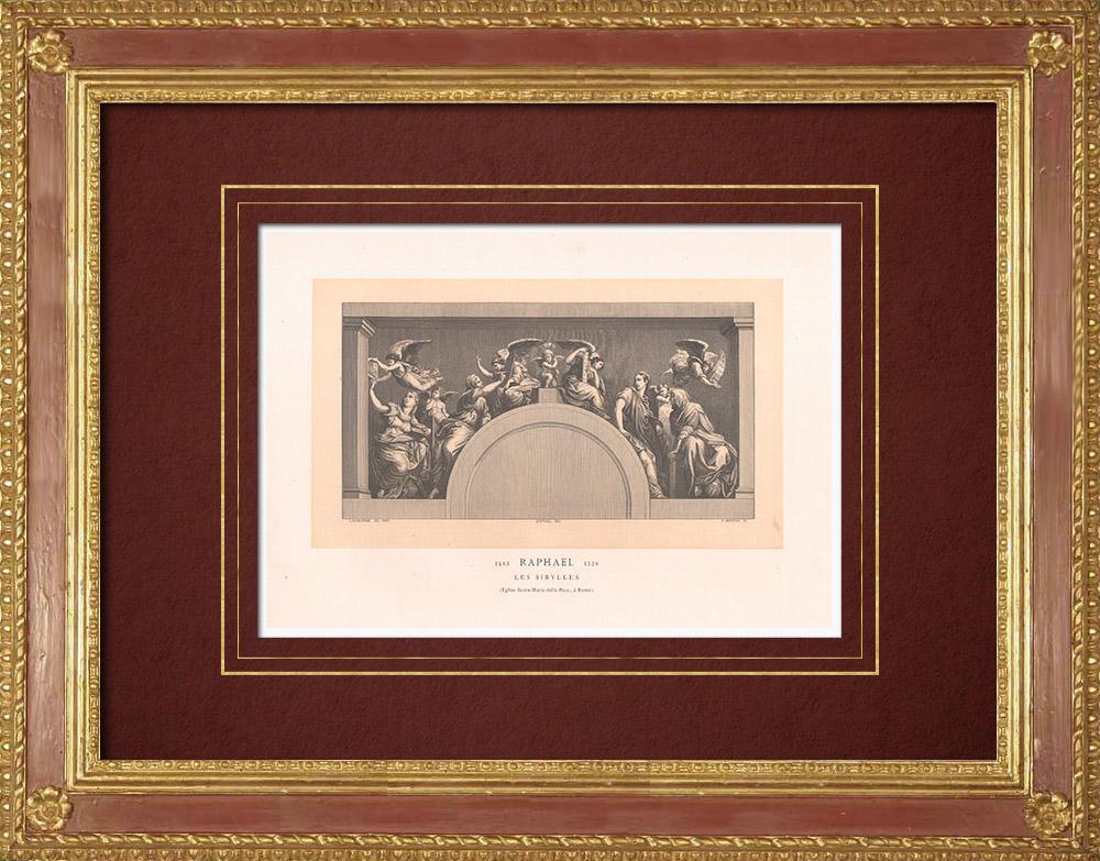 Antique Prints & Drawings   The Sibyls (Raffaello Sanzio called Raphael)   Wood engraving   1870