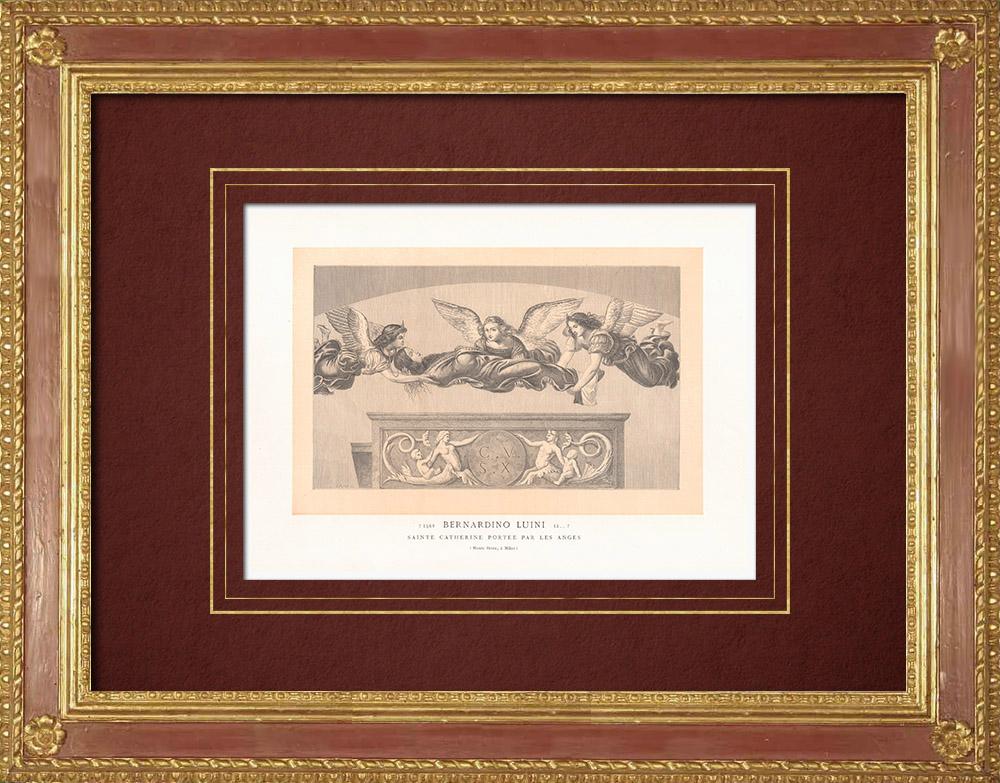 Stampe Antiche & Disegni | Santa Caterina trasportata alla tomba dagli angeli (Bernardino Luini) | Incisione xilografica | 1870