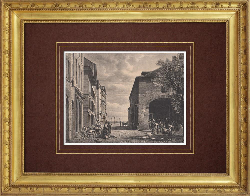 Stampe Antiche & Disegni | Veduta di Ginevra - Place de la Grenette (Svizzera) | Litografia | 1854
