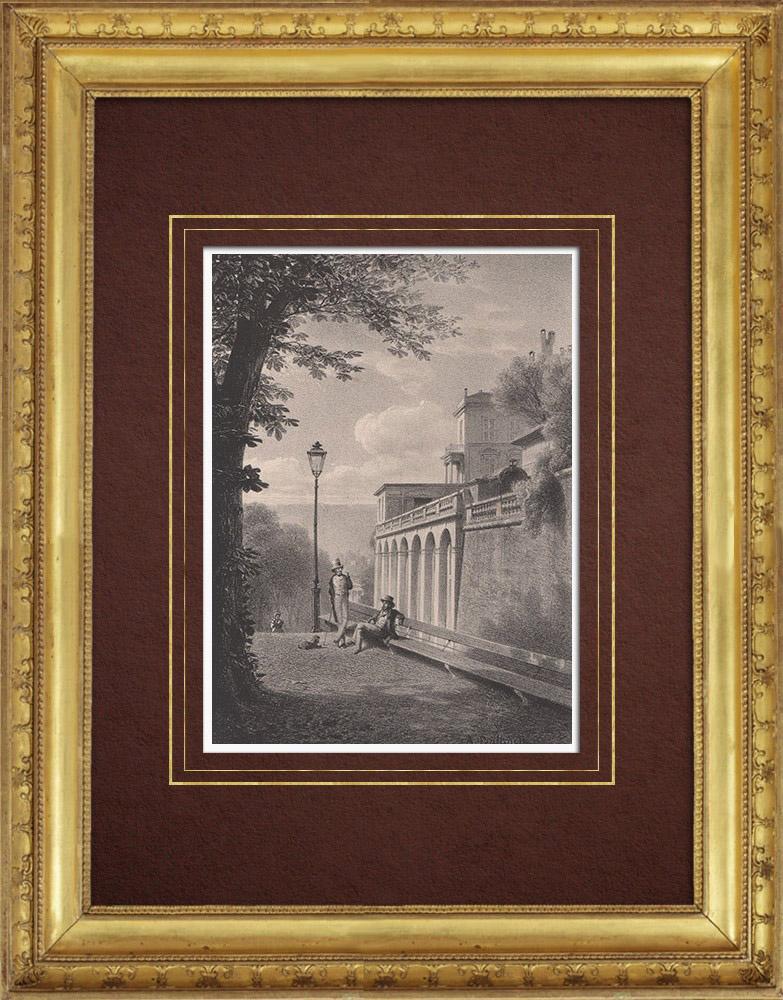 Stampe Antiche & Disegni | Veduta di Ginevra - Genève - Promenade de la Treille (Svizzera) | Litografia | 1854