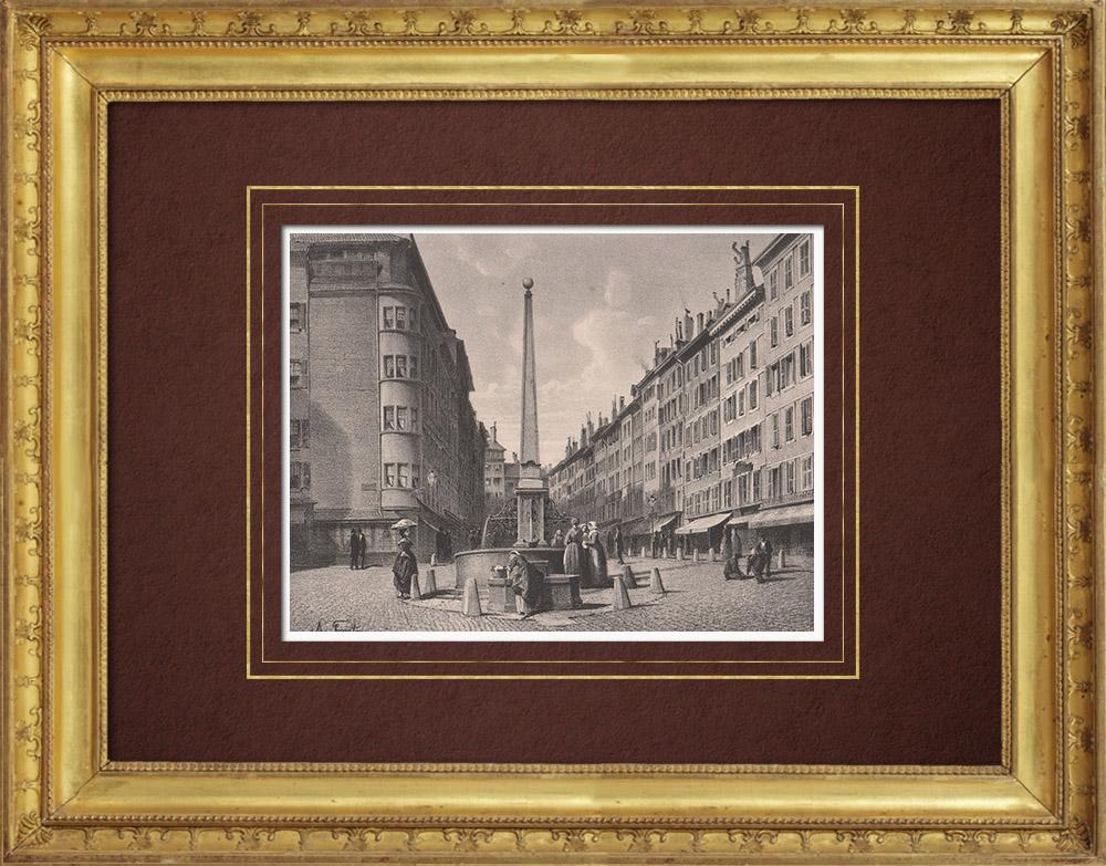 Stampe Antiche & Disegni | Fonte e rue de Coutance a Ginevra (Svizzera) | Litografia | 1854