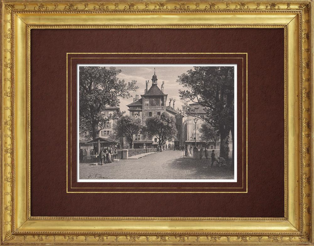 Antique Prints & Drawings   Tour de l'Ile in Geneva (Switzerland)   Lithography   1854