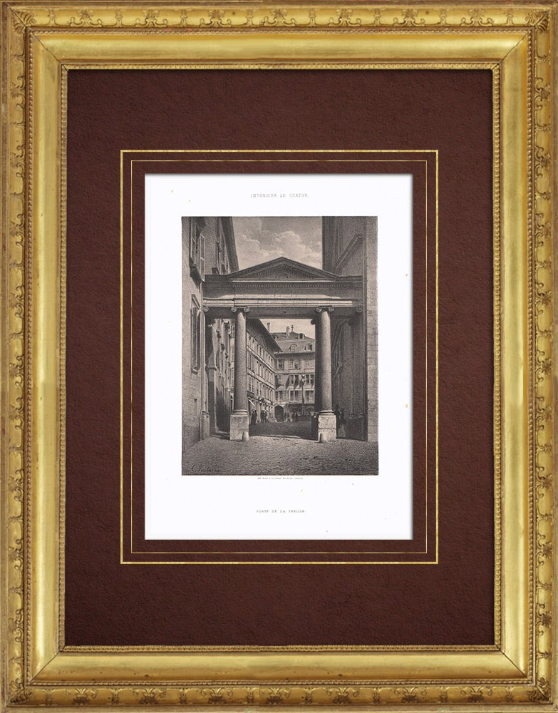 Stampe Antiche & Disegni | Veduta di Ginevra - Porte de la Treille (Svizzera) | Litografia | 1854