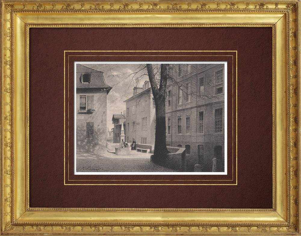Antique Prints & Drawings | St. Peter's Well - Geneva (Switzerland) | Lithography | 1854